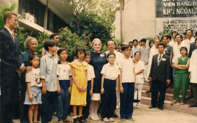 U.S. Secretary of State Madeleine K. Albright visits the Operation Smile medical mission in Ho Chi Minh City.  Also pictured is Dr. Lam Ngoc An and William Magee III
